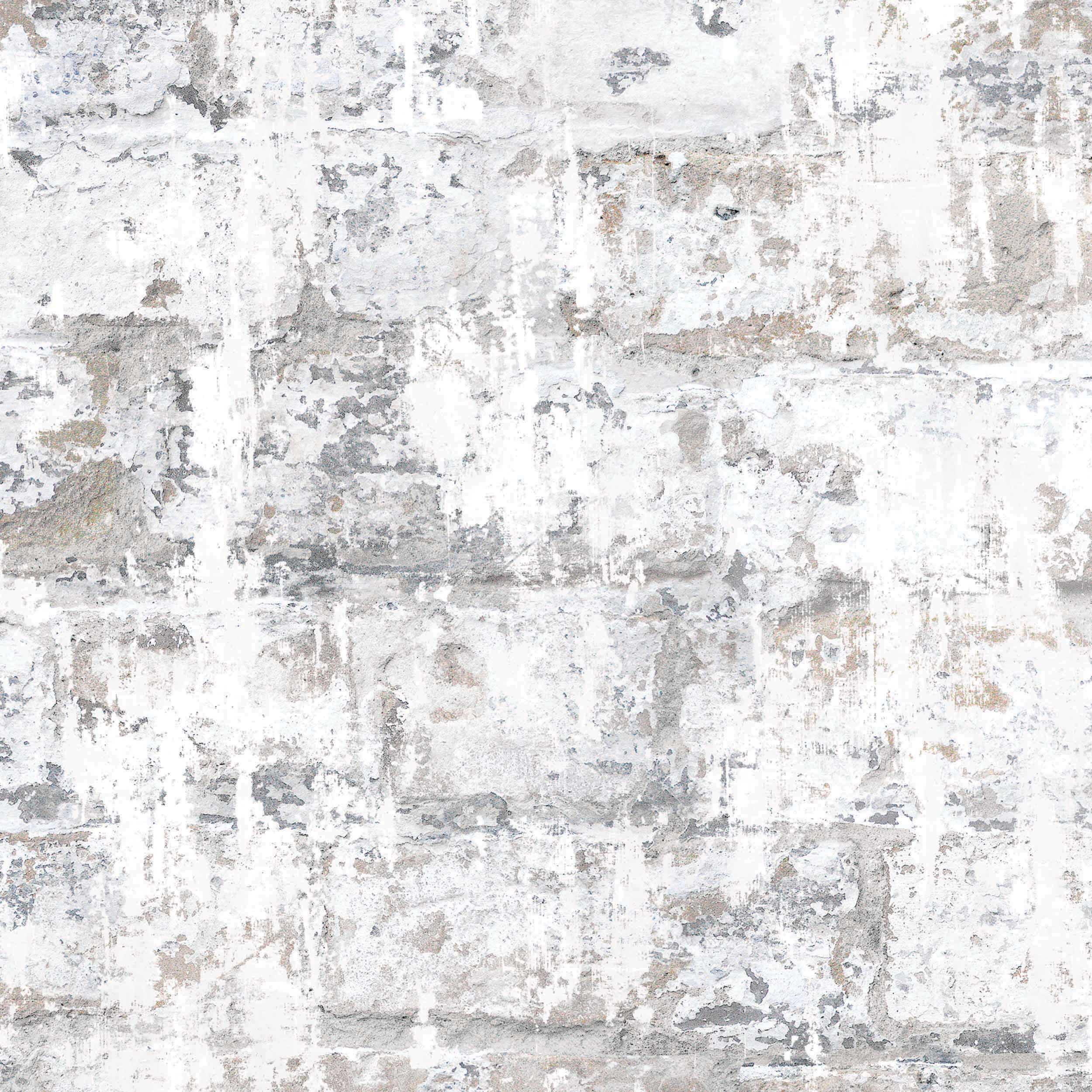Temper Brick & Plaster Effect Wallpaper | White & Stone/Beige