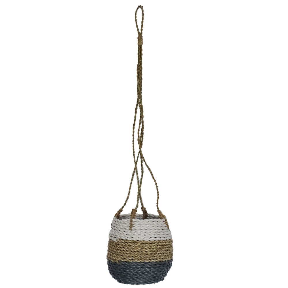 Seba Hanging Pot Basket in Tri Colour Grey, White & Natural - Your 4 Walls