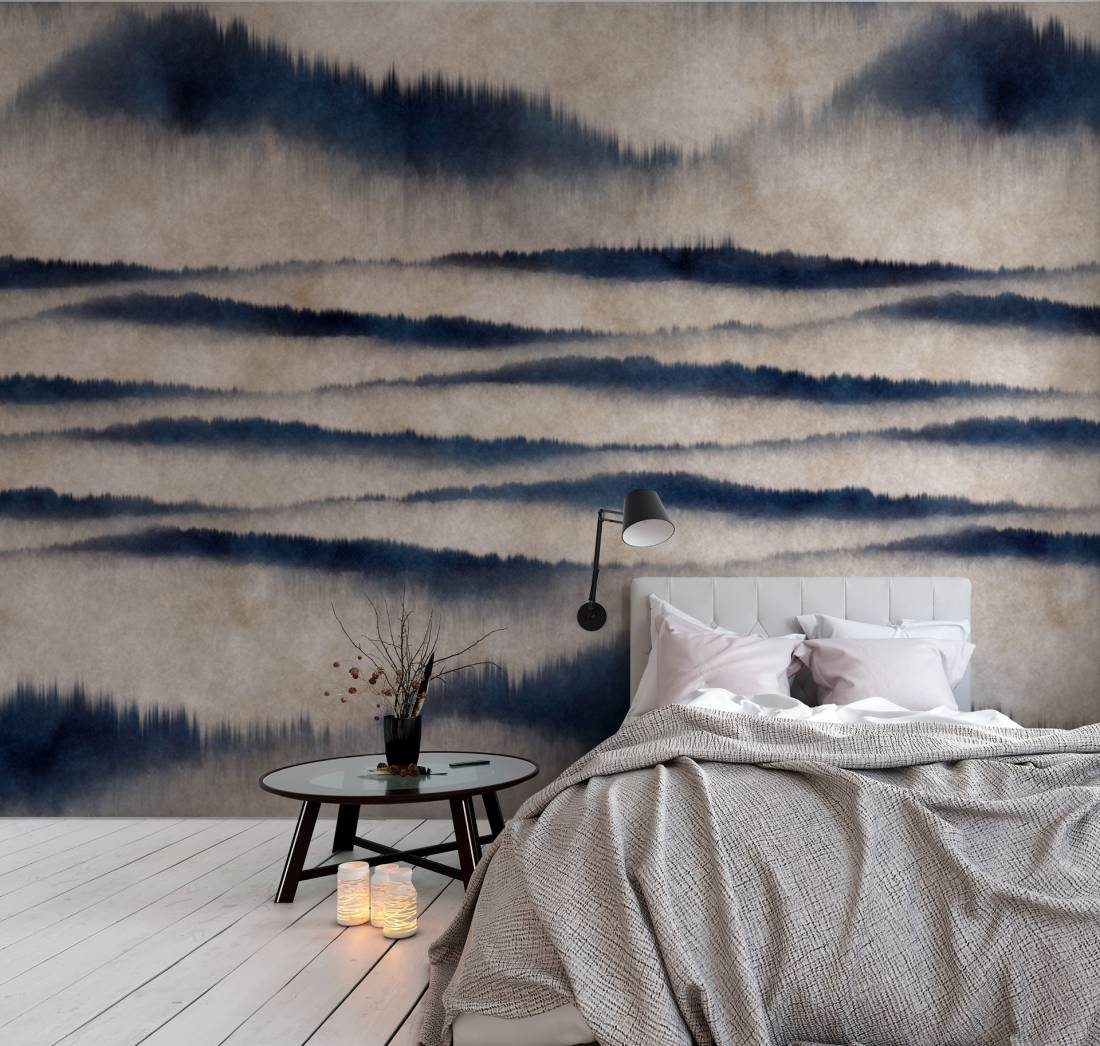 Serenity Wallpaper Mural in Blue & Grey