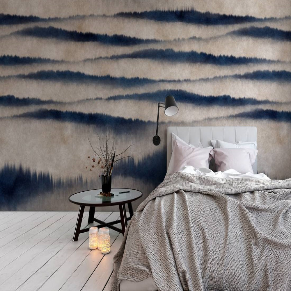 Serenity Wallpaper Mural in Blue & Grey - Your 4 Walls