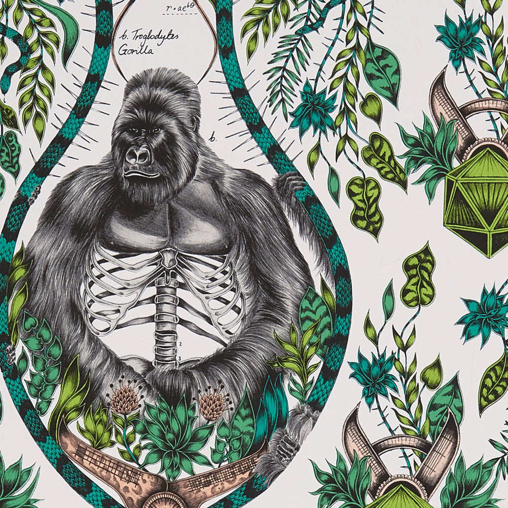 Silverback Ape design wallpaper by Designer Emma J Shipley Wilderie | Nude & Green - Your 4 Walls
