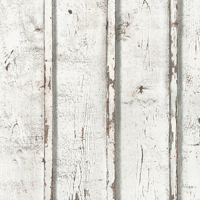 Scandi Large Wooden Slat Effect Textured Wallpaper in White, Grey & Beige - Your 4 Walls