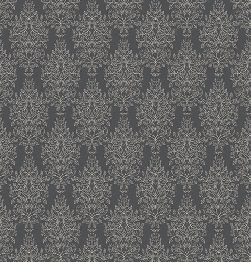 Monsoon Damask Geometric Wallpaper in Charcoal and Gold 3 rolls for 1 set price - Your 4 Walls