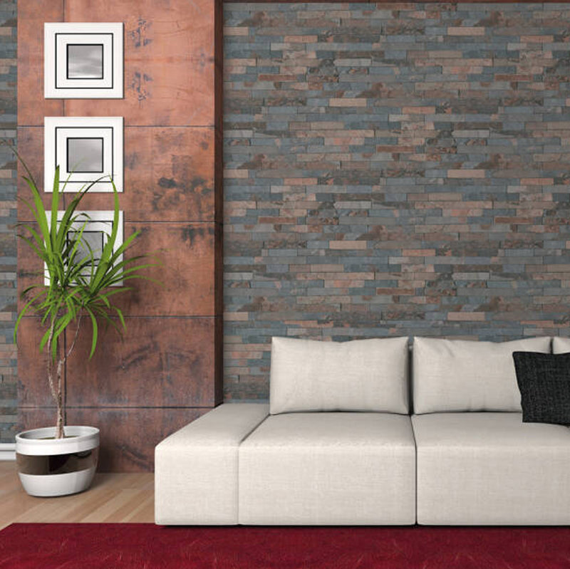 Split Face Stone Effect Wallpaper in Blue, Brown and Grey - Your 4 Walls