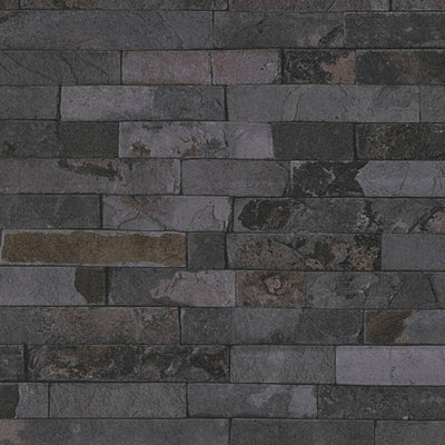 Split Face Stone Effect Wallpaper in Charcoal, Black & Dark Grey - Your 4 Walls