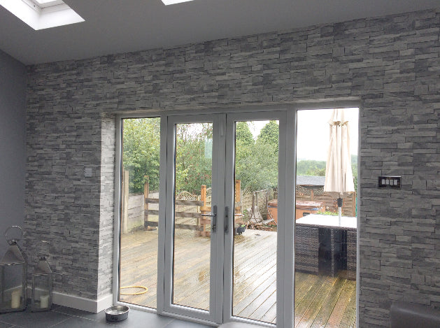 Split Face Tile Stone Effect Wallpaper | Grey Tones