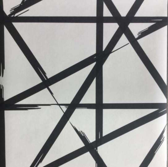 'Split Paint' Contemporary Geometric Wallpaper in Black & White - Your 4 Walls