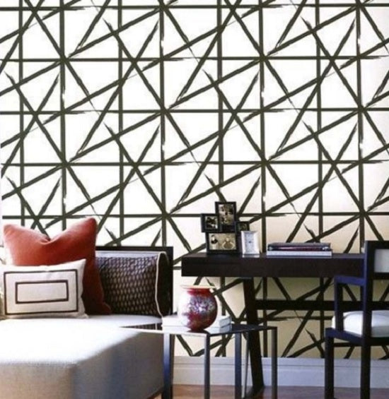 Split Paint Contemporary Geometric Wallpaper Black
