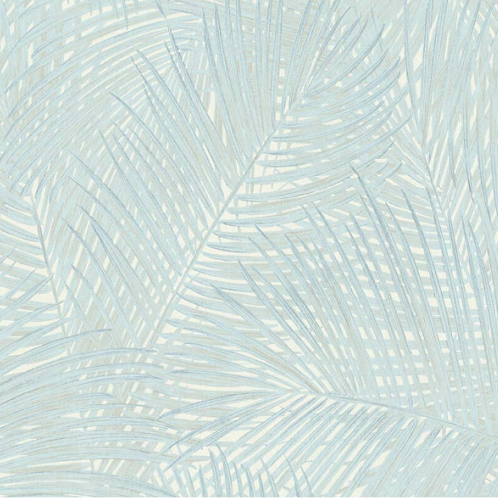 'Swaying Palm' Palm Leaf Wallpaper in Blue, Grey & White - Your 4 Walls