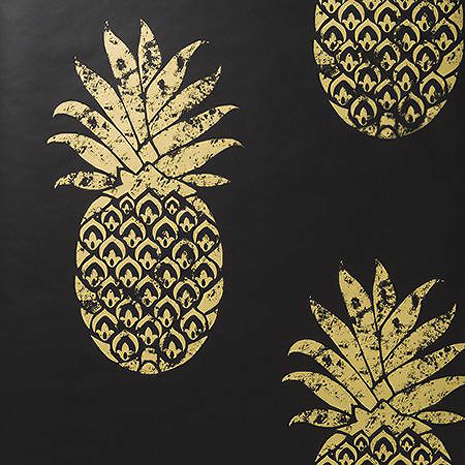 Tobago Pineapple Motif Wallpaper Clarke and Clarke | Charcoal & Metallic Gold