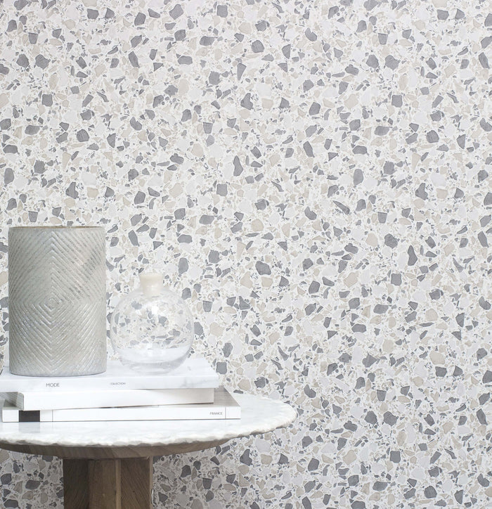 Terrazzo Effect Wallpaper | Dark Brown/Grey, Beige & Off White/Silver