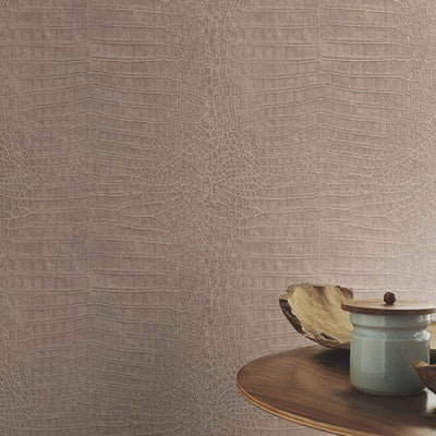 Crocodile Skin Effect Wallpaper in Gold Brown Shimmer - Your 4 Walls