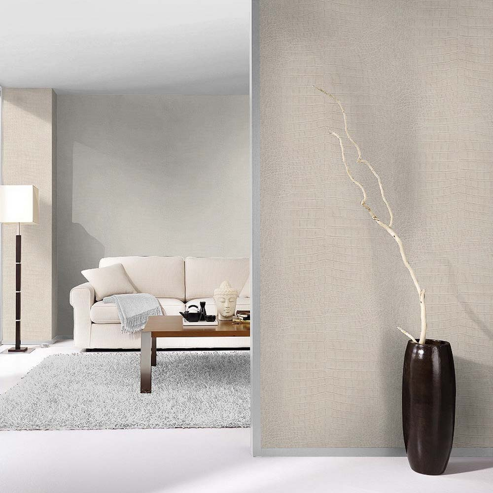 Crocodile Skin Effect Wallpaper in Off White & Gold Shimmer - Your 4 Walls
