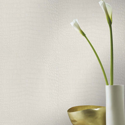 Crocodile Skin Effect Wallpaper in Off White Pearl Shimmer - Your 4 Walls