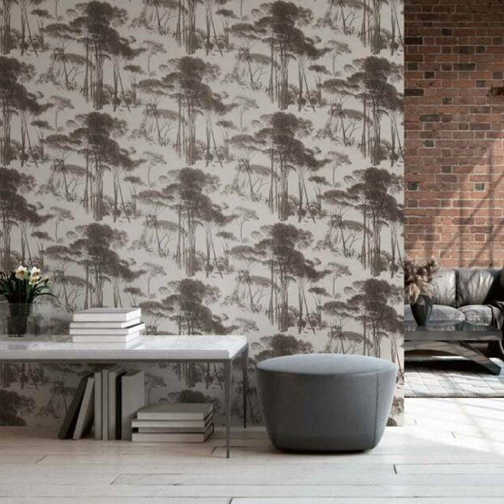 Traditional Wood/Tree Motif Wallpaper in Brown & Off White - Your 4 Walls