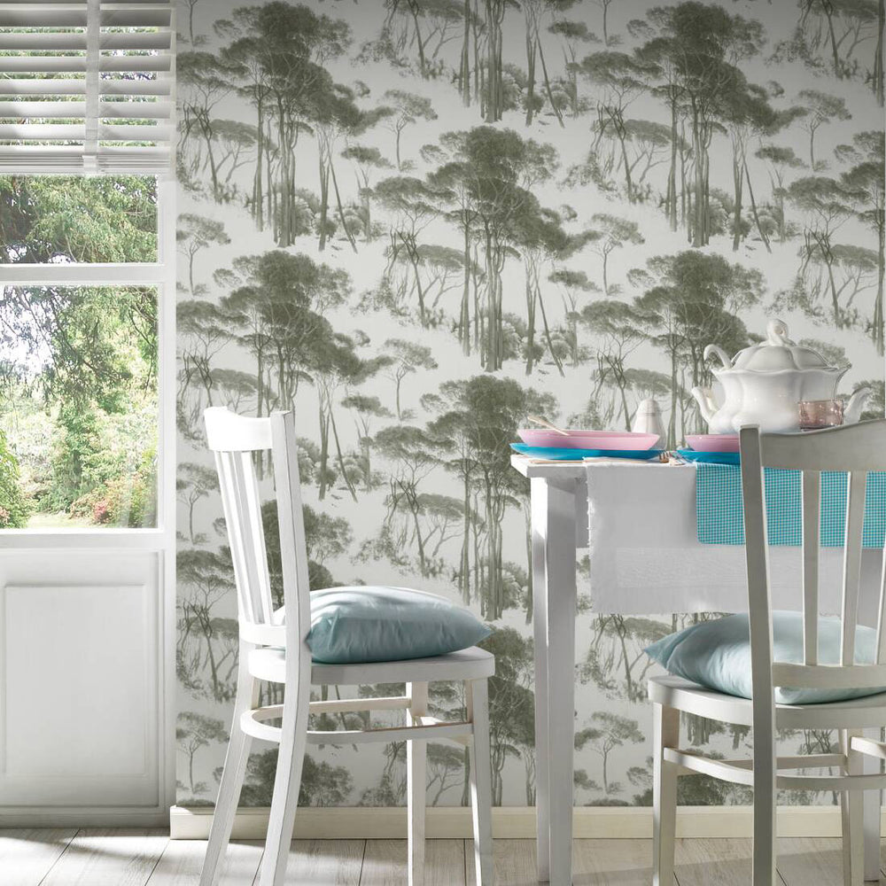 Traditional Wood/Tree Motif Wallpaper in Green & Off White - Your 4 Walls