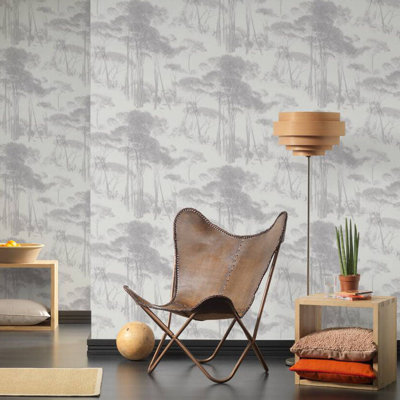 Traditional Wood/Tree Motif Wallpaper in Grey & Off White - Your 4 Walls