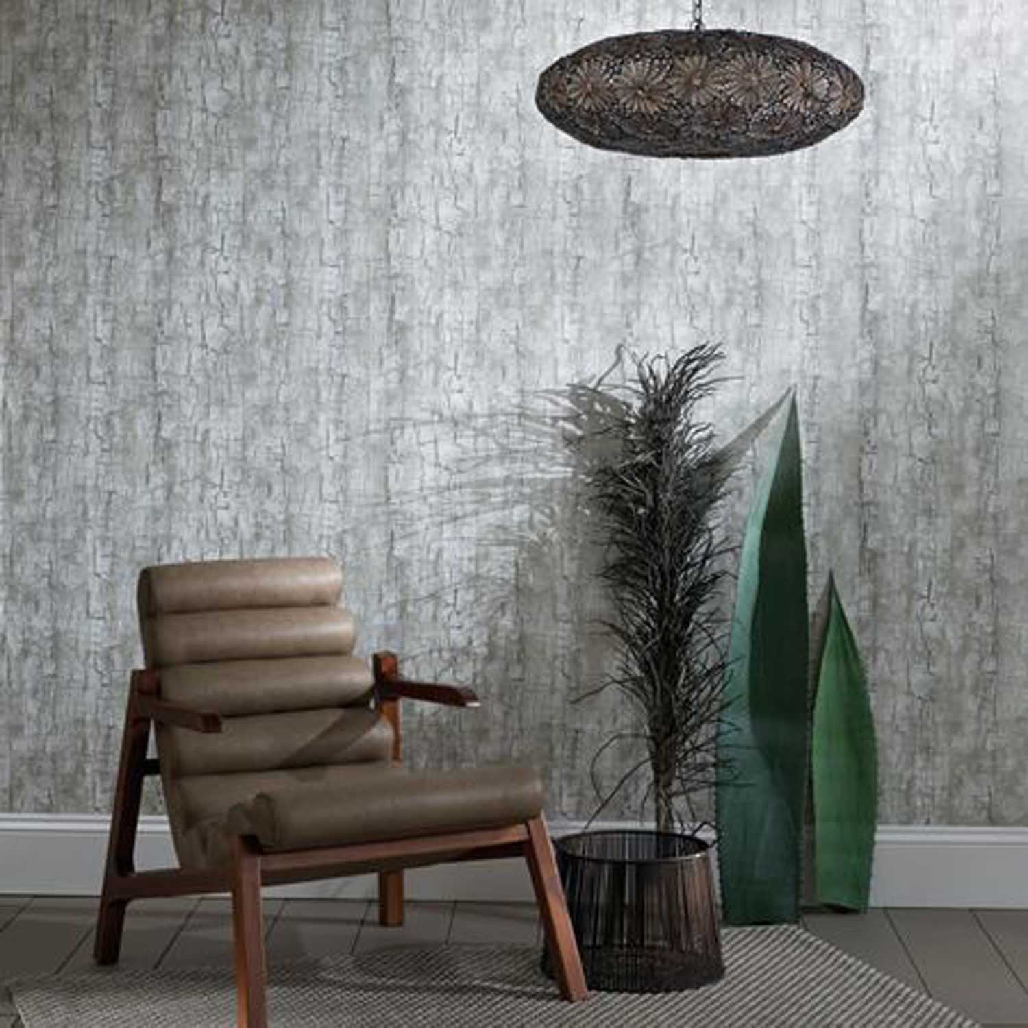 Tree Bark Effect Wallpaper | Antique Brown & Metallics