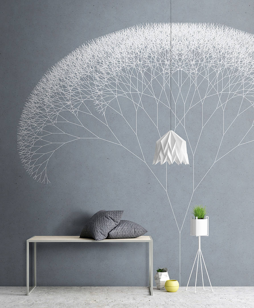 Trees Wallpaper Mural in Blue, Grey & White