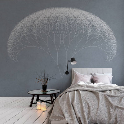 Trees Wallpaper Mural in Blue, Grey & White - Your 4 Walls