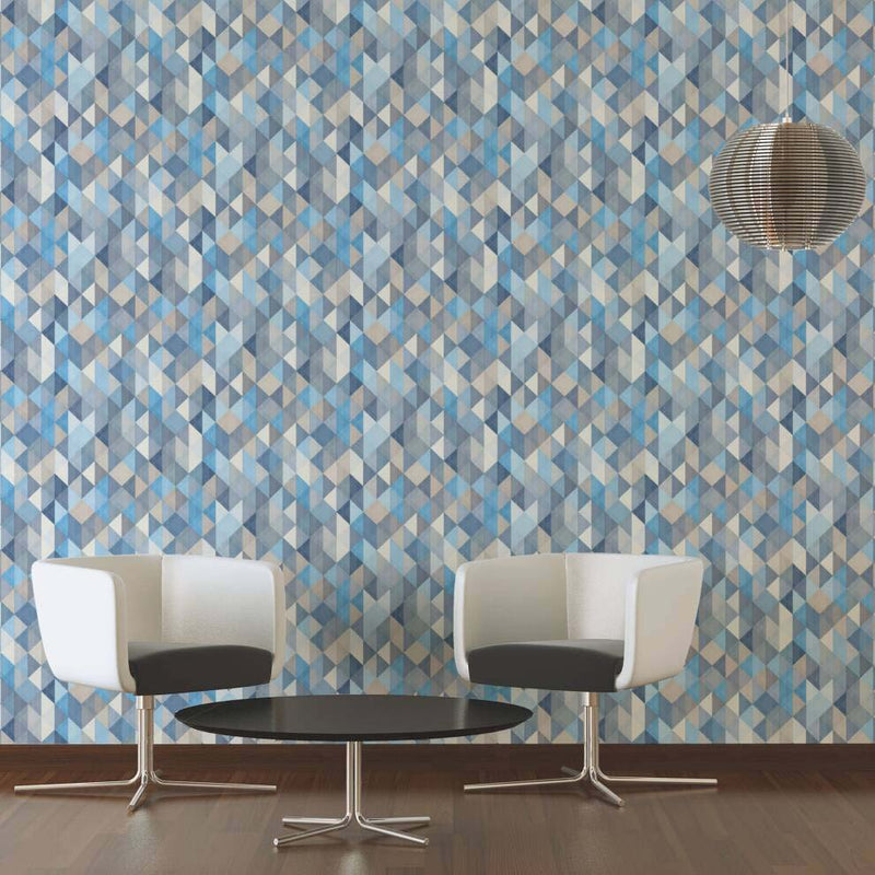 Triangular Diamond Geometric Wallpaper in Blue, Beige and Grey - Your 4 Walls