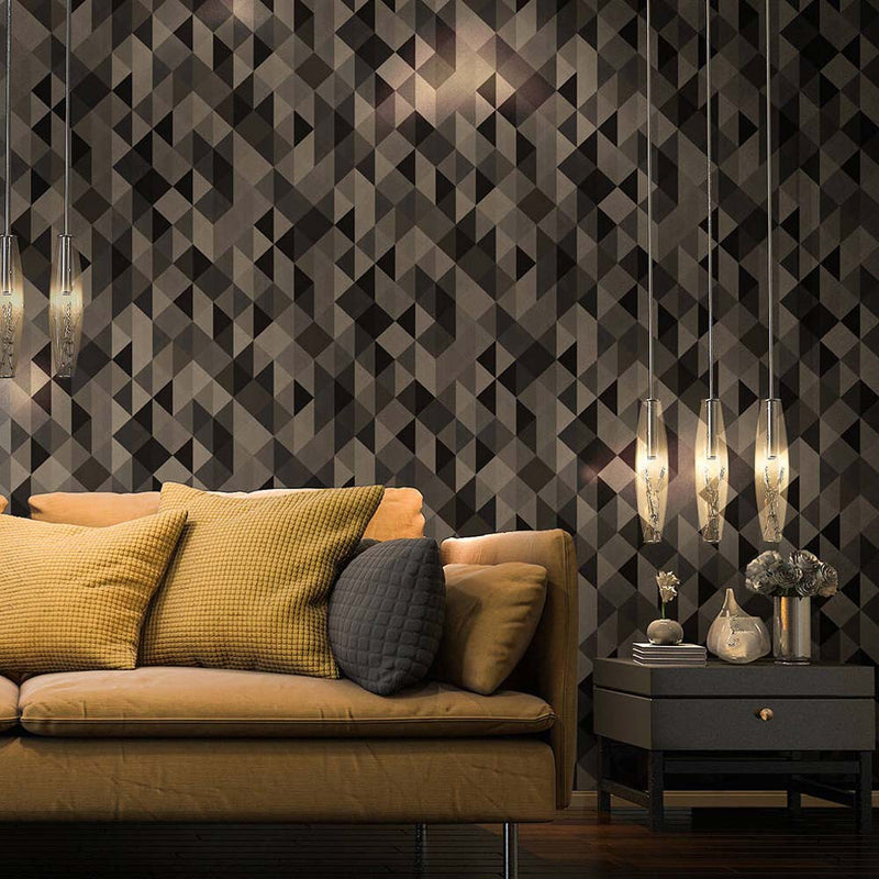 Triangular Diamond Geometric Wallpaper in Brown, Black and Gold - Your 4 Walls