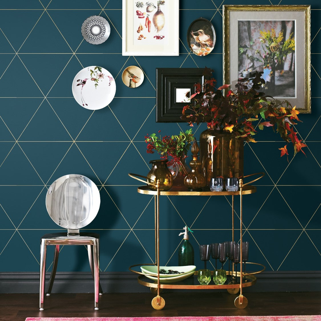Metallic Triangle Geometric Wallpaper | Teal, Blue Green & Metallic