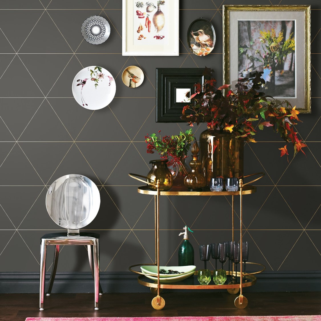 Metallic Triangle Geometric Wallpaper | Dark Grey & Metallic
