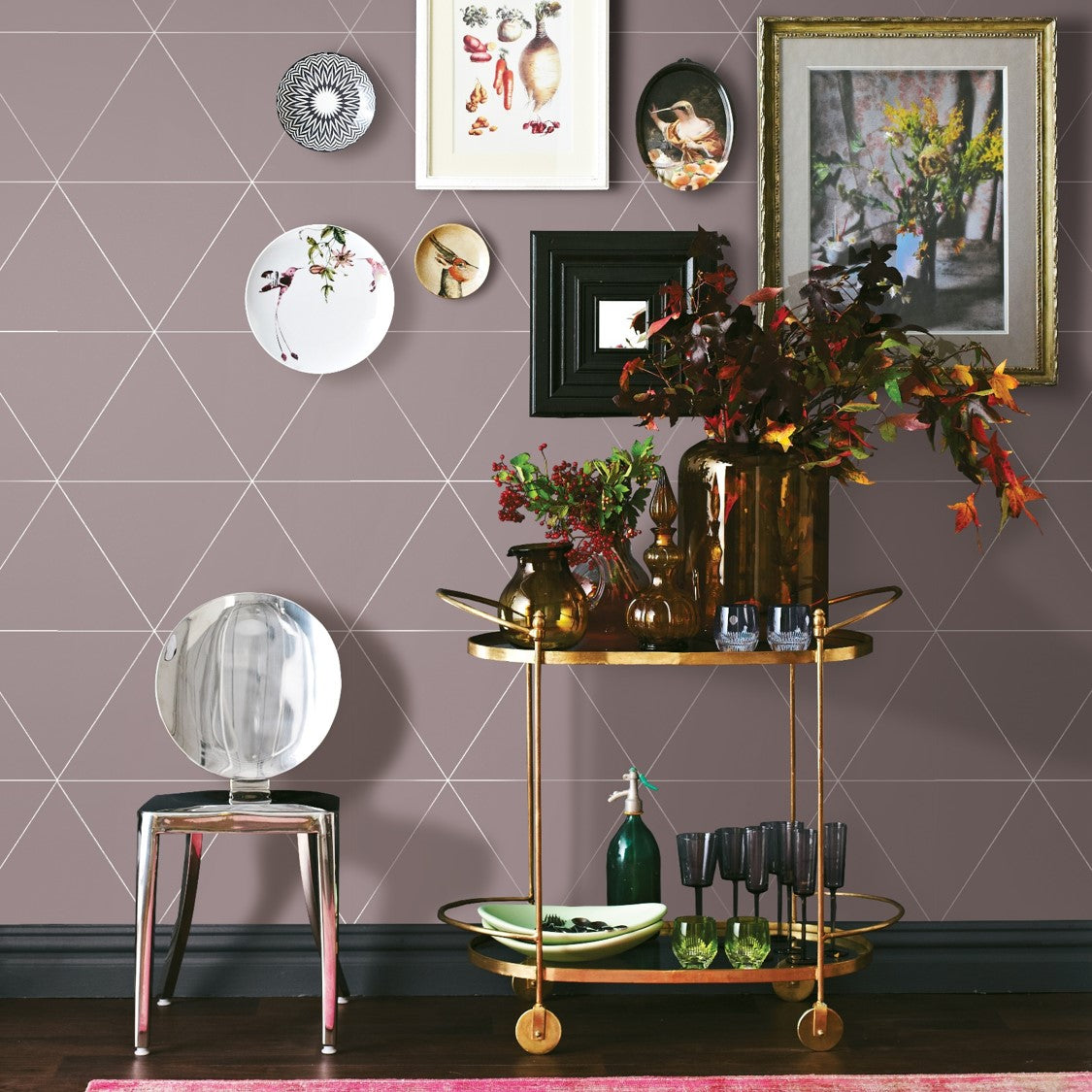 Metallic Triangle Geometric Wallpaper | Soft Pastel Pink & Metallic