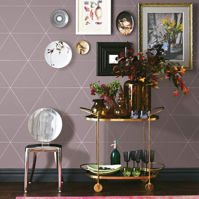 Metallic Triangle Geometric Wallpaper | Soft Pastel Pink & Metallic - Your 4 Walls