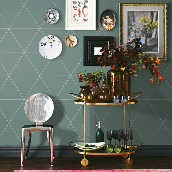 Metallic Triangle Geometric Wallpaper | Mint / Pastel Green & Metallic