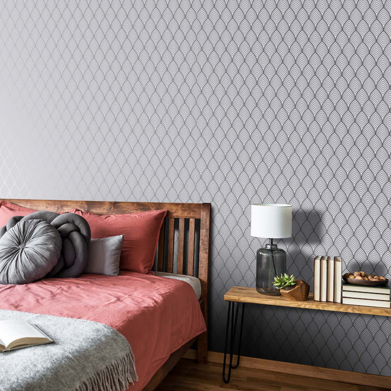 Art Deco Vector Tile Effect Geometric Wallpaper | Grey and Silver Gold - Your 4 Walls