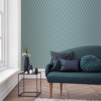 Art Deco Vector Tile Effect Geometric Wallpaper | Duck Egg Blue and Gold - Your 4 Walls