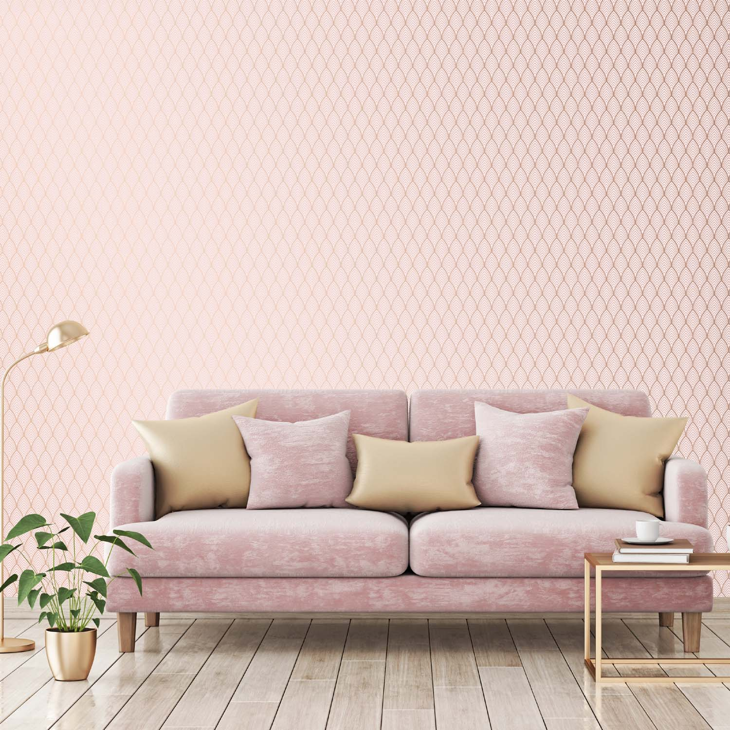 Art Deco Vector Tile Effect Geometric Wallpaper | Dusky Pink and Rose Gold
