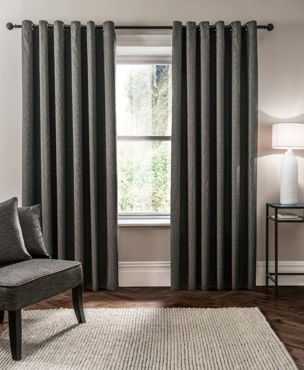 Clarke & Clarke 'Verona' Designer Lined Eyelet Curtains | Charcoal Zig Zag - Your 4 Walls