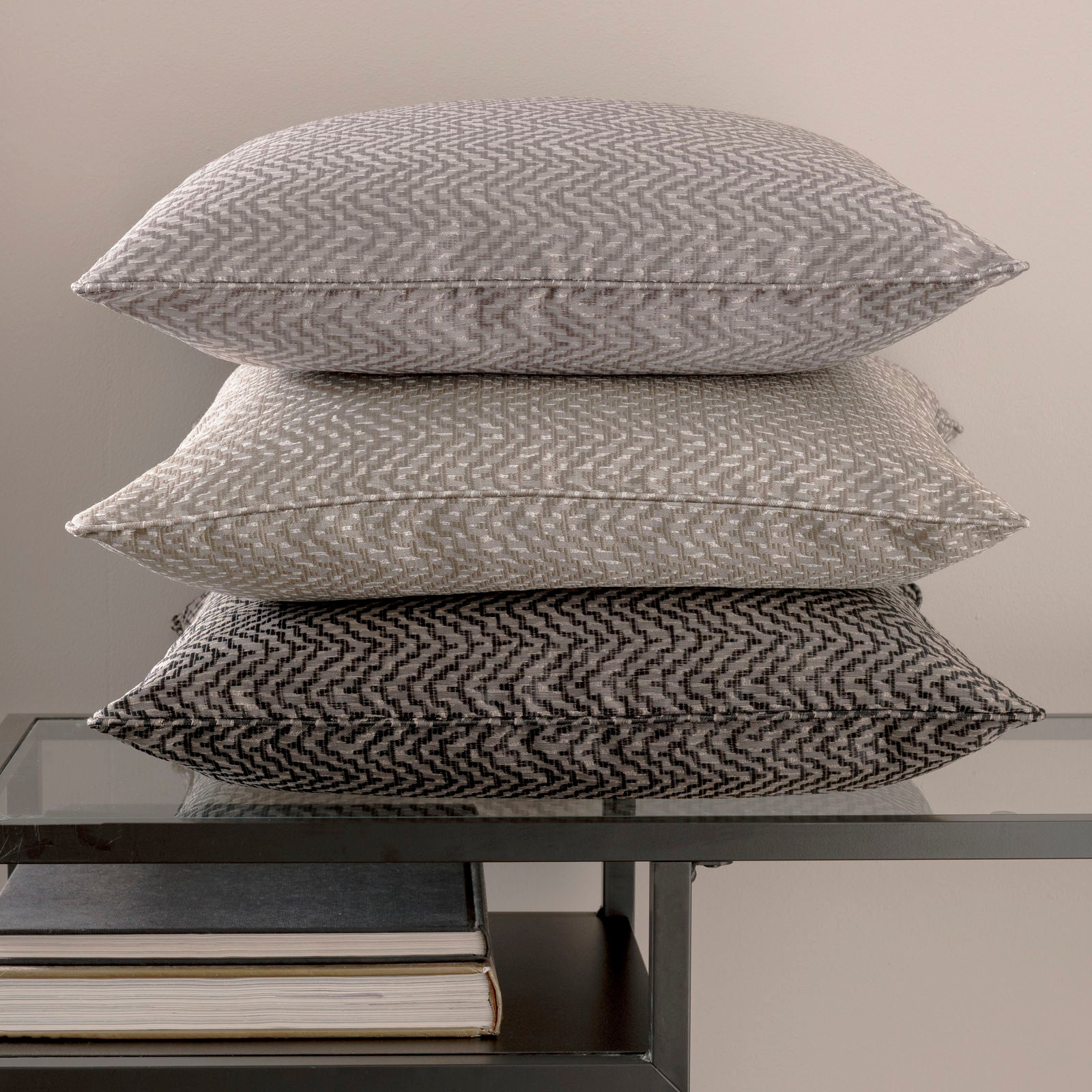 Clarke & Clarke Designer 'Verona' Cushion | Smoke Grey Two Tone Zig Zag Geometric Design