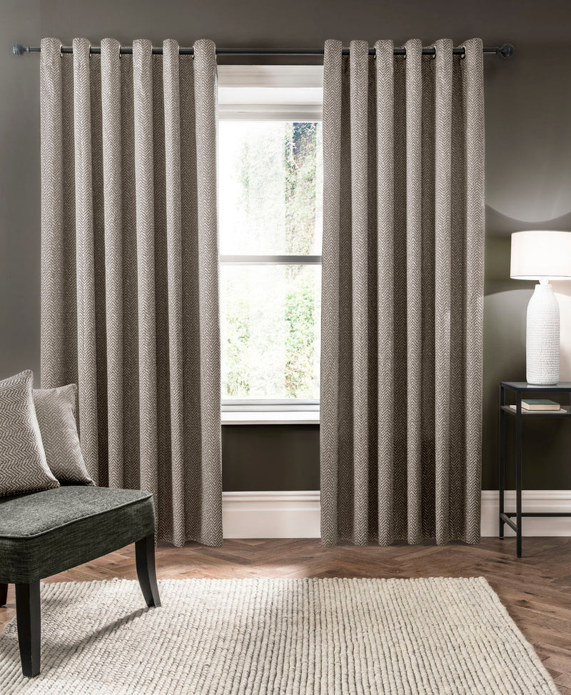 Clarke & Clarke 'Verona' Designer Ready Made Curtains in Putty Grey Zig Zag - Your 4 Walls