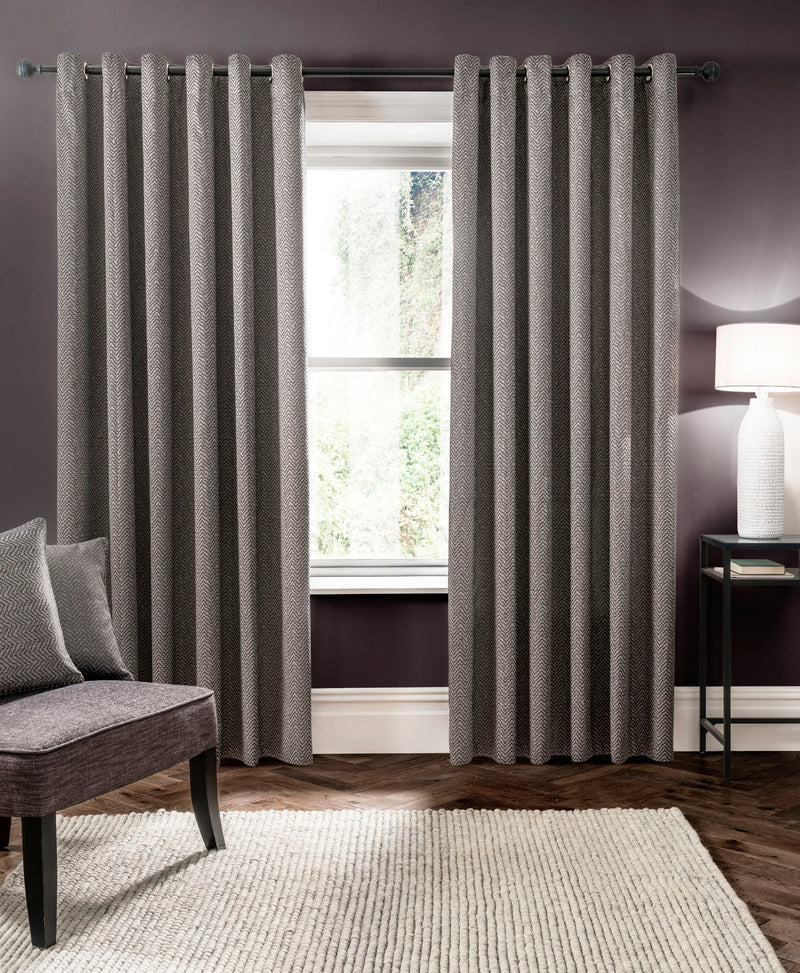 Clarke & Clarke 'Verona' Designer Ready Made Curtains in Smoke Grey Zig Zag - Your 4 Walls