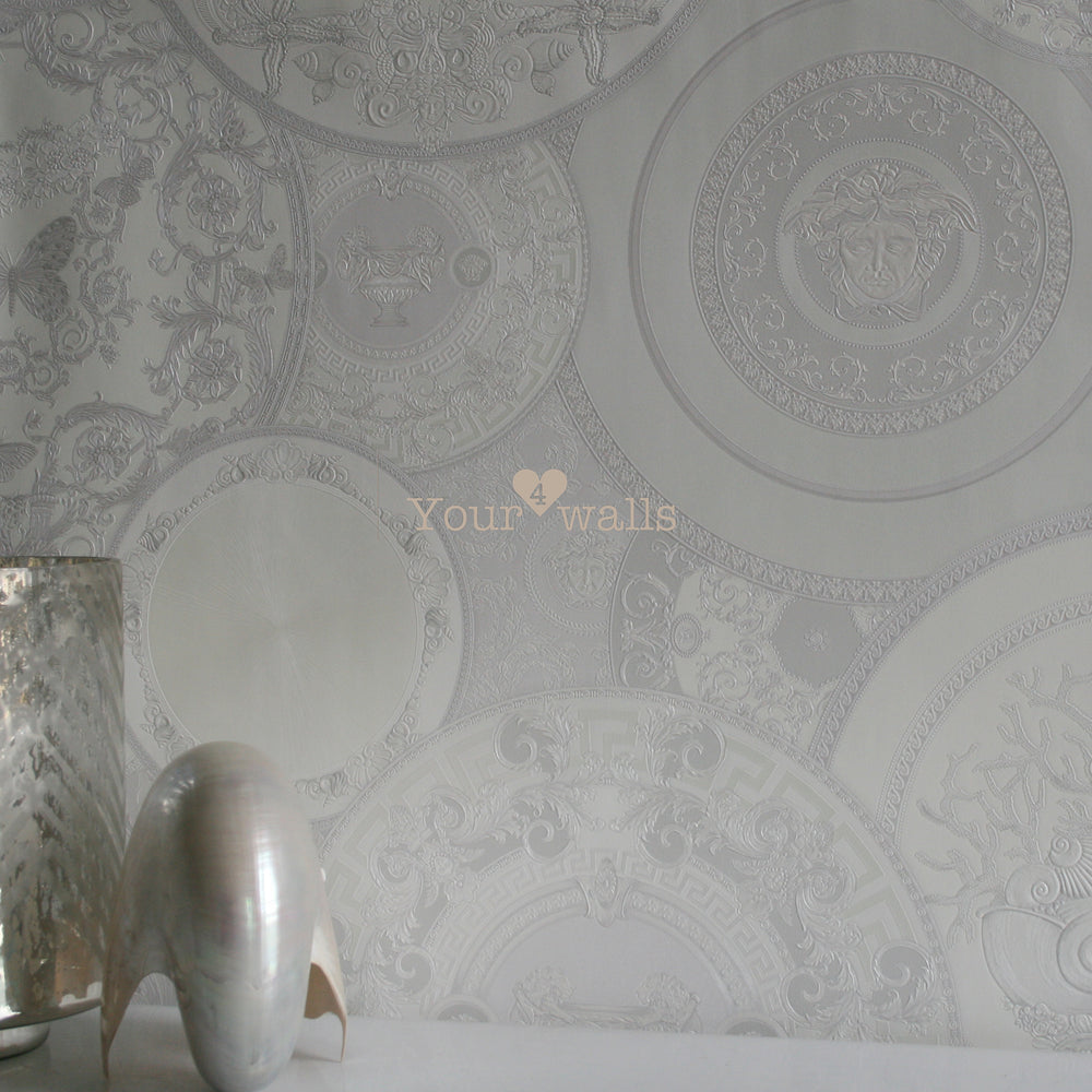 Versace China| Designer Motif Effect Wallpaper in White & Grey with Pink Iridescence