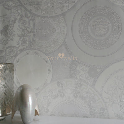 Versace China| Designer Motif Effect Wallpaper in White & Grey with Pink Iridescence - Your 4 Walls