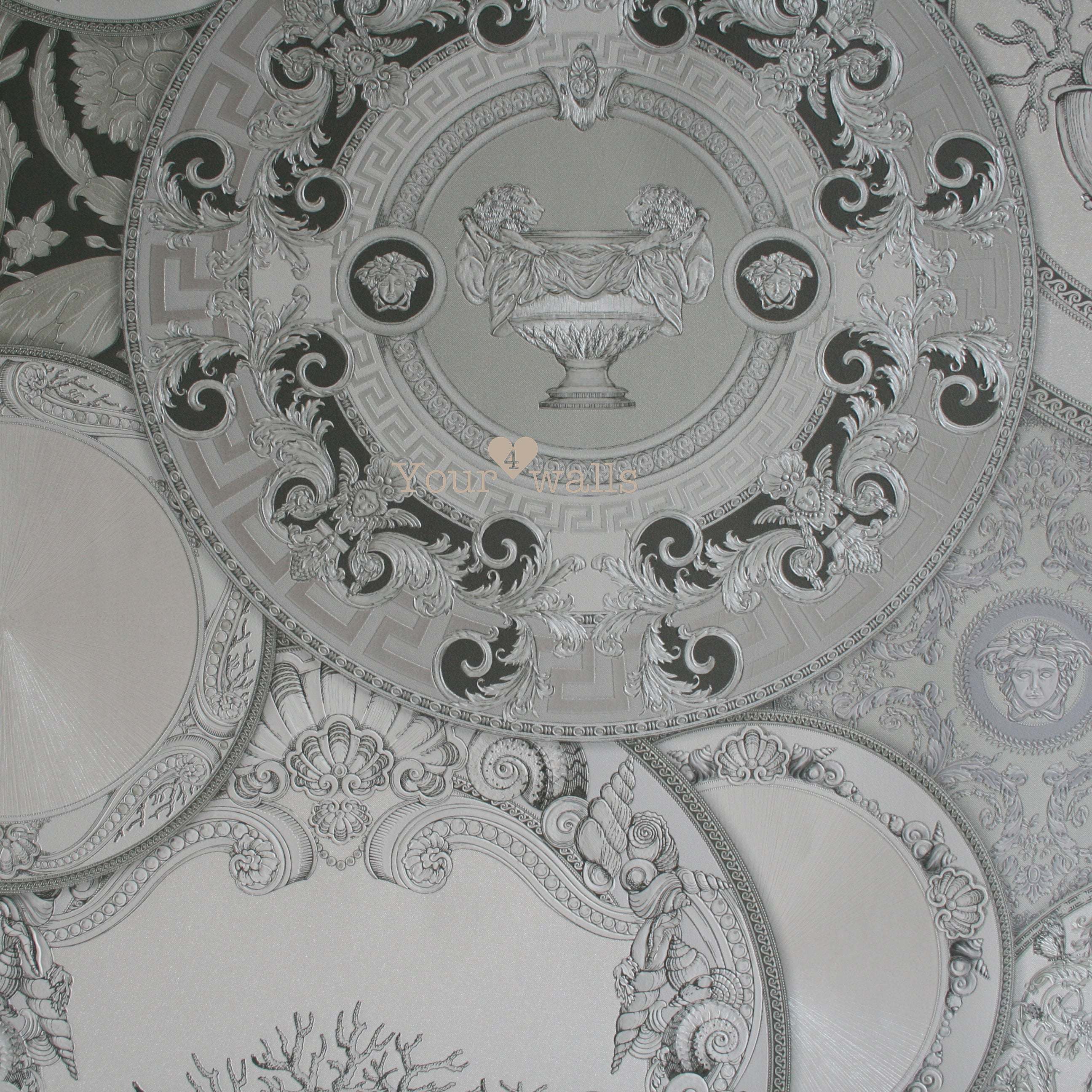 Versace China| Designer Motif Effect Wallpaper in Grey, Charcoal,  Silver & White