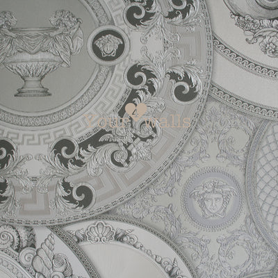 Versace China| Designer Motif Effect Wallpaper in Grey, Charcoal,  Silver & White - Your 4 Walls