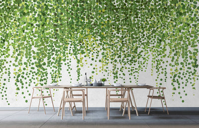 Vine Leaf & Foliage Wallpaper Mural Green and White - Your 4 Walls