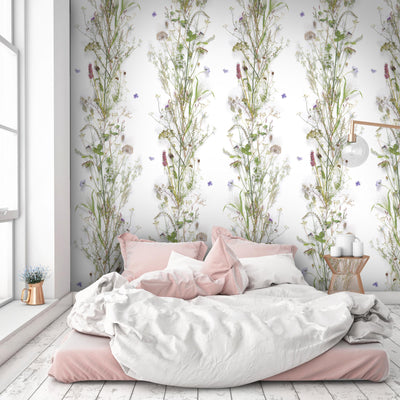 'Nostalgia' Floral Wallpaper | White, Green, Purple & Pink - Your 4 Walls