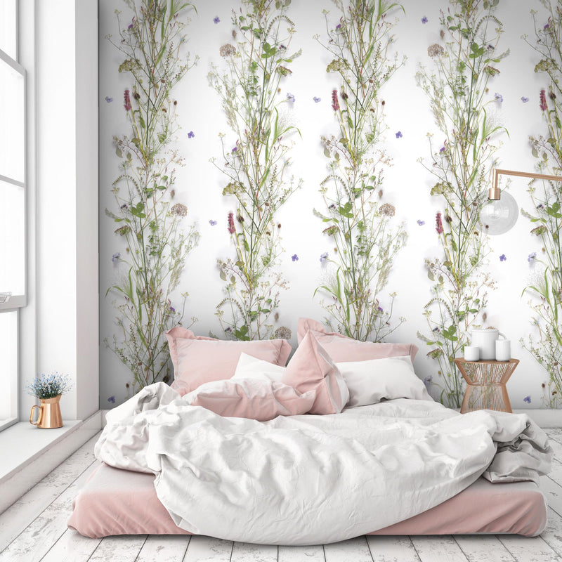 'Nostalgia' Floral Wallpaper in White, Green, Purple & Pink - Your 4 Walls