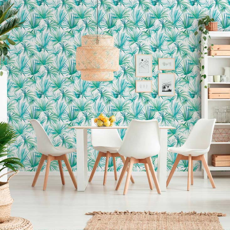 Watercolour Palm Tree Design Wallpaper | Blue, White & Green