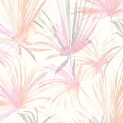 Watercolour Palm Tree Design Wallpaper | Pink, Peach, Grey & White