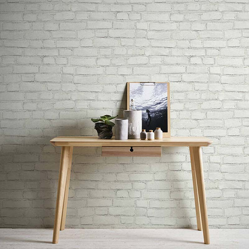 White Painted Brick Effect Wallpaper in White & Grey - Your 4 Walls