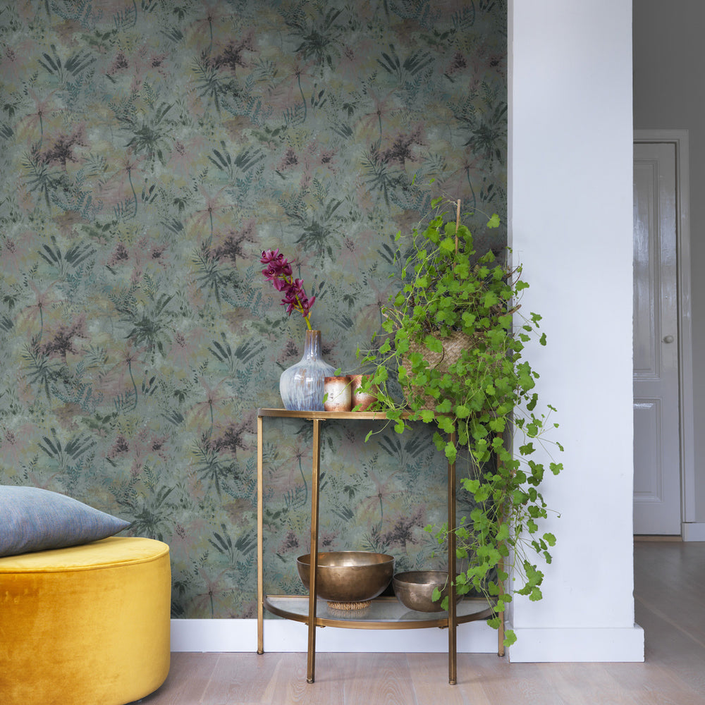 'Wild' Floral painted effect Wallpaper in Aqua shades - Your 4 Walls