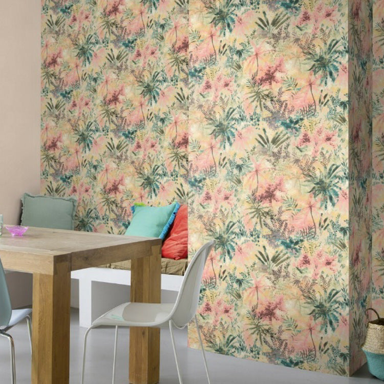 'Wild' Floral painted effect Wallpaper in Pink and sunset shades - Your 4 Walls